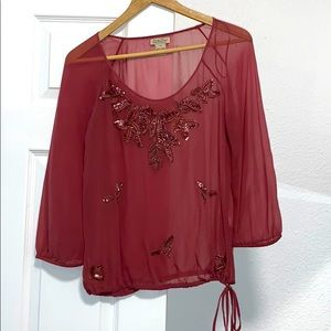 Lucky Brand Sheer Sequin Blouse Top Maroon